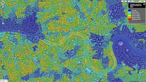 Central London Google Map.Population Density Google Maps Census System Preview Digital Urban
